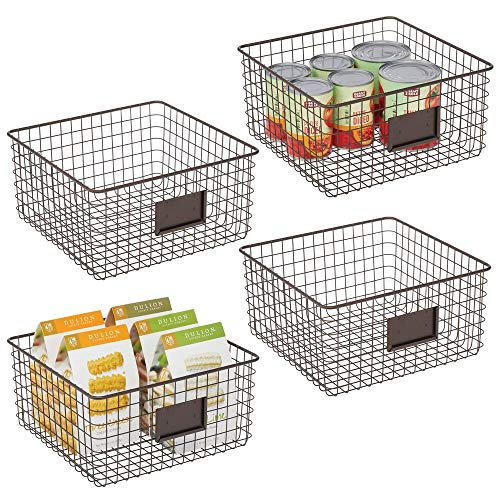 mDesign Farmhouse Decor Metal Wire Food Organizer Storage Bin Baskets with Label Slot for Kitchen Cabinets Pantry Bathroom Laundry Room Closets Garage - 4 Pack - Bronze