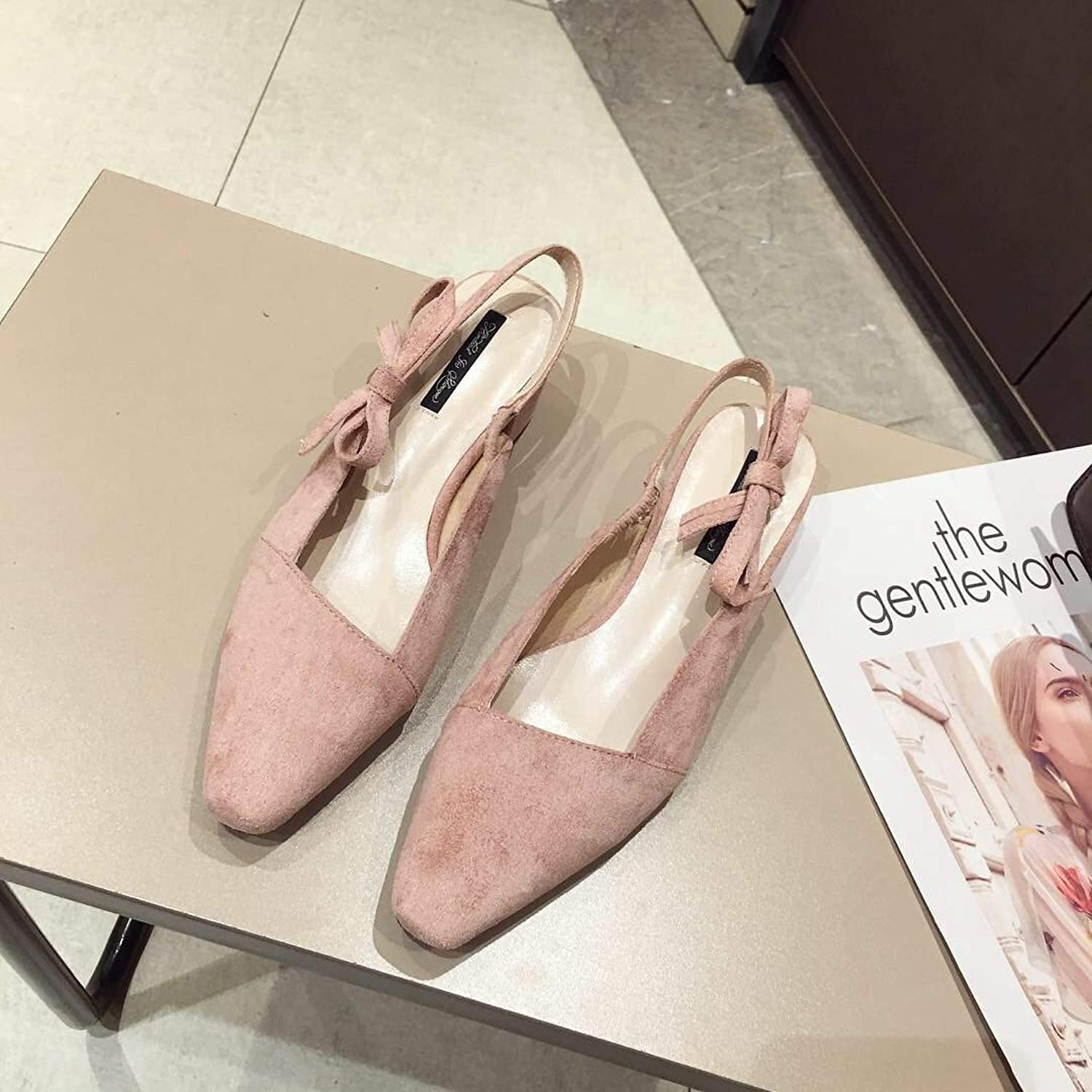 DNJKSA Fashion Casual Sandals Single shoes 2019 New Korean Version Butterfly Knot Thick Heel Low Heel One-Word Flat Sole shoes