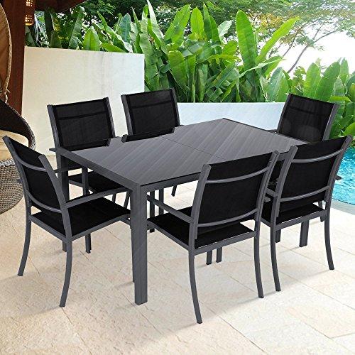 Miadomodo Salotto giardino set tavolo con sedie esterno set da 7 pezzi in acciaio colore grigio scuro