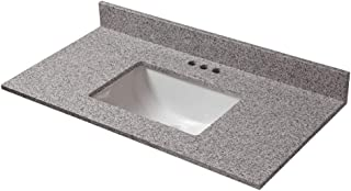 CAHABA CAVT0155 37 in x 19 in Napoli Granite Vanity Top with trough bowl and 4 in faucet spread