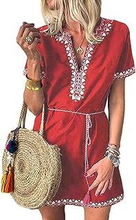 WEISUN Womens Mini Dress Summe Casual Print V-Neck Short Sleeve Mini Dress Sale Today