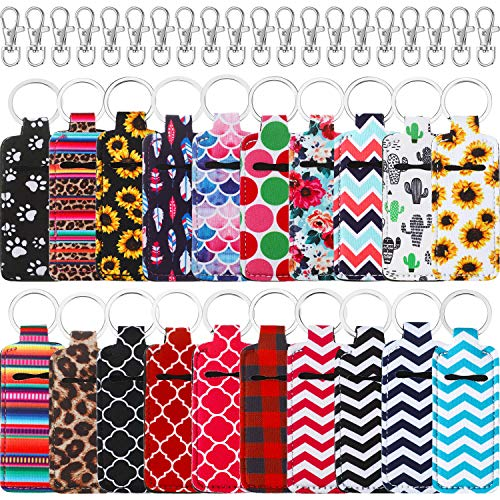 20 Pieces Chapstick Holder Keychains Neoprene Lip Balm Keychain Holder Lipstick Holder Keychains with 20 Pieces Metal Clip Cords for Chapstick Tracker and Safeguard, 20 Colors
