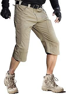 Men's Capri Shorts Pants Casual Loose Fit Water Resistant Work Hiking Shorts Multi Pockets Tactical Cargo Shorts