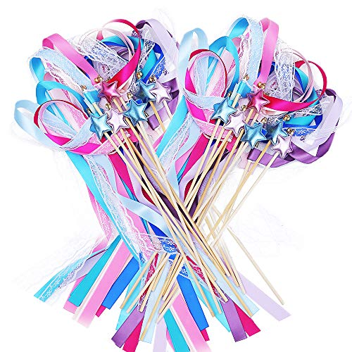 Ribbon Wands Mix Color Chromatic Silk Ribbon with Bells Fairy Stick Wish Wands for Wedding Party Activities Gift(Pack of 20)