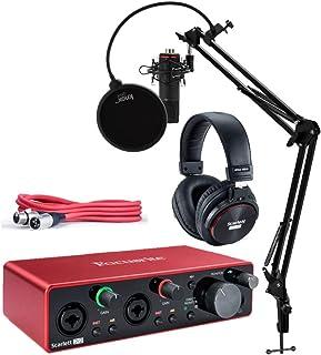 بسته نرم افزاری رابط صوتی Focusrite Scarlett 2i2 Studio 3rd Gen 2x2 USB با هدفون ، کابل XLR ، استودیوی استودیوی ناکس استودیو ، شوک مونت و فیلتر پاپ (4 مورد)