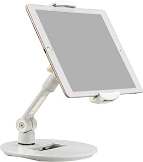 "WALI Tablet Cell Phone Stand for iPad Pro Air Mini Kindle iPhone Holds Screen up to 13"", 2.2 lbs. 360 Degree Swivel 150 Degree Folding Arm (STM001), White"