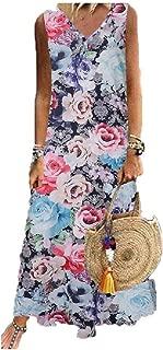 Howely Womens Print Flare Summer Sleeveless V-Neck Elegant Long Maxi Dress
