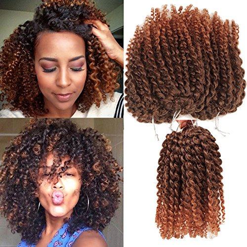 Short Hair Style Kinky Curl Ombre Color 8Inch 3pcs/pack Afro Kinky Twist Hair Crochet Braids Soft Synthetic Crochet Hair Extention (1B/30)