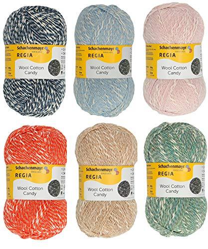 theofeel 6X 100g Sockenwolle Paket mit Anleitung, Regia Wool Cotton Candy, 600g Sockenwolle Wolle Baumwolle Sortiert