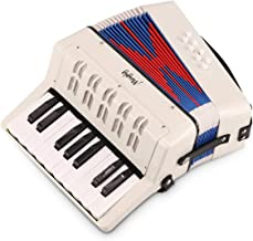 Mugig Piano Accordion, 17 Key Keyboard Piano with 8 Bass Button, include Adjustable Shoulder Strap, Air Valve, Kid Instrum...