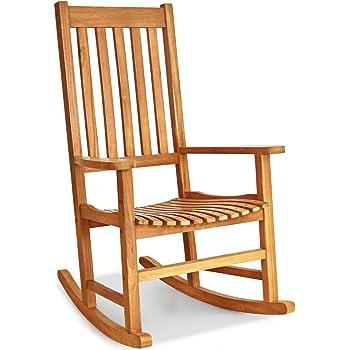 Giantex Rocking Chair Acacia Wood Frame Outdoor& Indoor for Garden, Lawn, Balcony, Backyard and Patio Porch Rocker (1, Natural)