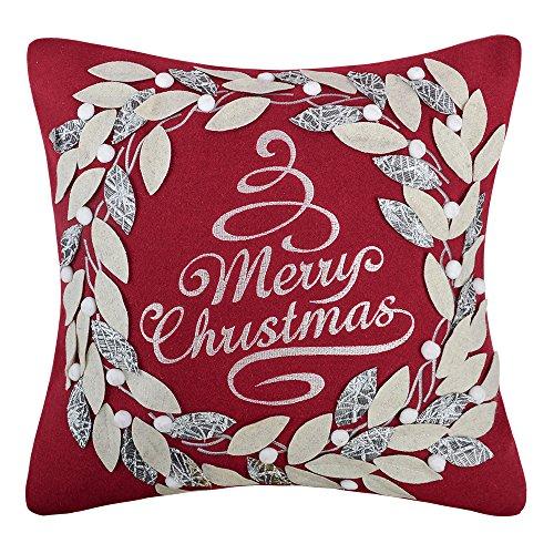 KING Rose Merry Christmas Kranz dekorativer Überwurf-Kissenbezug Wolle Kissen Fällen für Sofa Couch Stuhl Art Deco 18 X 18 Inches Xmasred