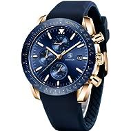 BENYAR - Stylish Wrist Watch for Men, Genuine Silicone Strap Watches, Perfect Quartz Movement,...