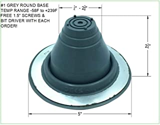 EAGLE 1 EPDM Flexible Roofing Pipe Flashing Boots - On Site Adjustable Roof Pipe Jack Boot with Round Base (Standard Gray, 1)