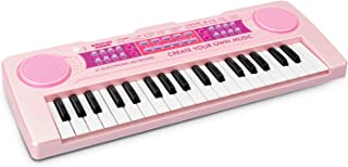 aPerfectLife Kids Keyboard Piano, 37 Keys Multi-Function Charging Electronic Educational Toy Organ for Kids Toddlers Children with Microphone (Pink)