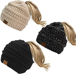 Uspeedy- 3 Pieces Womens Ponytail Messy Bun Beanie Tail Knit Hole Soft Stretch Cable Winter Hat Trendy Knit Ski Skull Cap Beige and Black