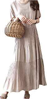 [オーバーザムーン] プリーツワンピース ロング丈 半袖 無地 シンプル 切り替え きれいめ ふんわり ゆったり 体型カバー M~2XL レディース