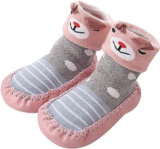 Kids Anti-Slip Slipper Floor Socks Toddler Baby Non-Slip Socks Soft Bottom Booties Shoes Gift (18-24months/Tag:14, Light Blue)
