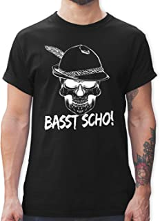 Shirtracer Oktoberfest & Wiesn Herren - Totenkopf Basst Scho! - Tshirt Herren und Männer T-Shirts