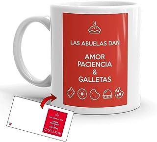 Kembilove Taza Desayuno para Abuelas – Taza Original con mensaje Las Abuelas dan amor, paciencia y galletas – Taza de Café...