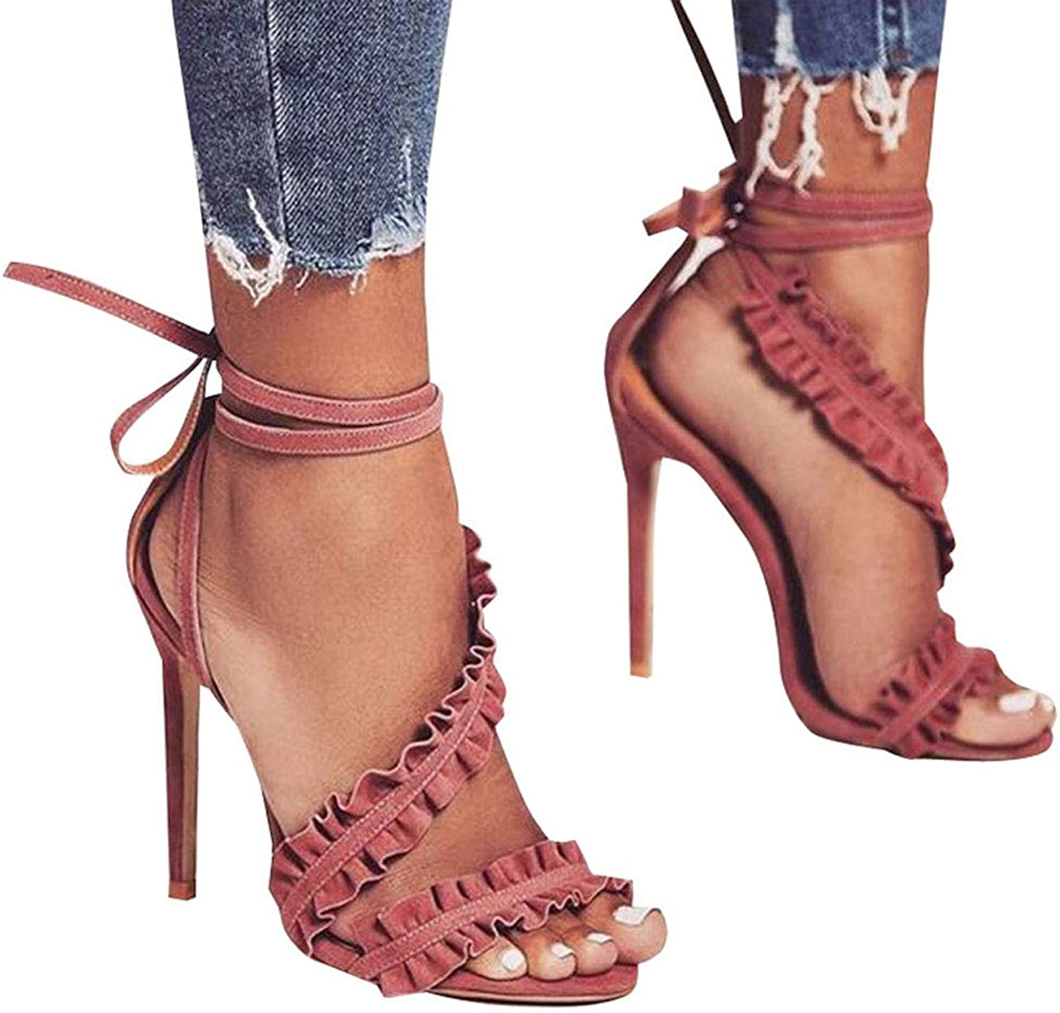 Women's Fashion High Heels, Ladies' Sexy Lotus Leaf Lace Ankle Straps Sandals Open Toe Fashion Wild On Dress Party shoes for Summer