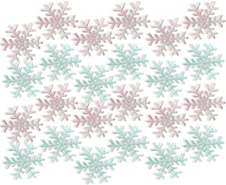 BANBERRY DESIGNS Pink and Blue Snowflakes - Set of 24 Snowflake Ornaments - 12 Frosted Pink and 12 Frosted Blue Snowflakes - Winter Baby Shower Essentials