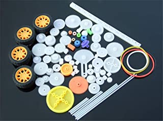 Jffeay 78Pcs Plastic Various Gear Axle Belt with 4 Tires DIY Car Robot Model Gear Set