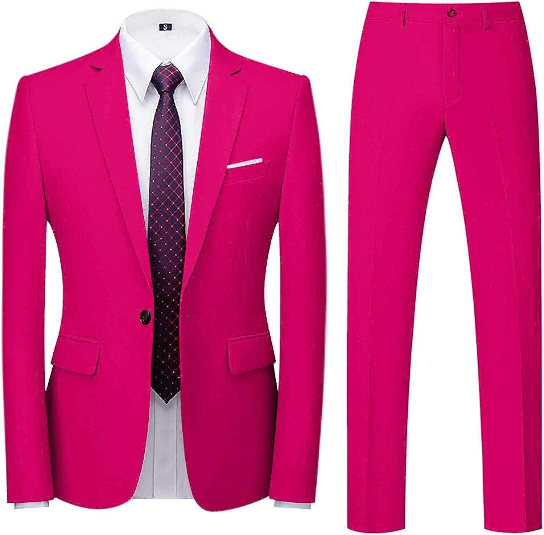 Business Suit for Men's 2-Piece Blazer Tuxedo Slim Single Button Coat Jacket & Pants Set for Wedding Party Dress