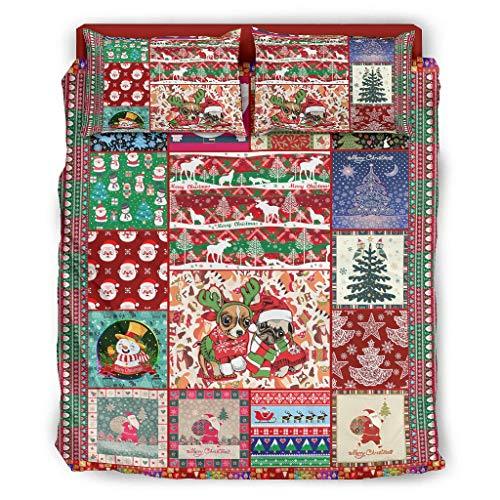 XunYun Christmas Happy kühlend Bett-Set Luxus-Bettwäsche Polyester für Schlafzimmer White 203x230cm