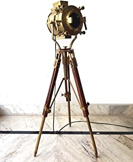 Antique Old Century Morden Adjustable Searchlight Timber Brass and Brown Tripod (Low Floor lamp 45
