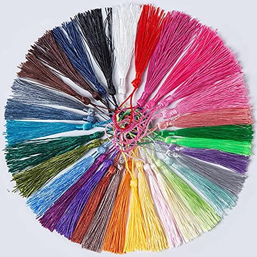 20 pendientes pequeños de borla de 8 cm de seda, pendientes de cepillo, colgantes para bricolaje, llavero, marcador, joyería, componentes de regalo