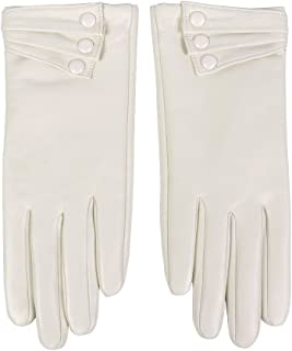 Nappa Leather Gloves Warm Lining Winter Button Decoration Lambskin for Women