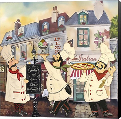 Italian Chefs II by Jean Plout Canvas Art Wall Picture, Museum Wrapped with Black Sides, 12 x 12 inches