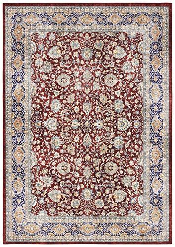 Elle Decor Design Teppich orientalisch Keshan Maschad Wohnzimmerteppich (160 x 230 cm, 100% Polyester, Fußbodenheizung geeignet, robust, einfache Reinigung) weinrot