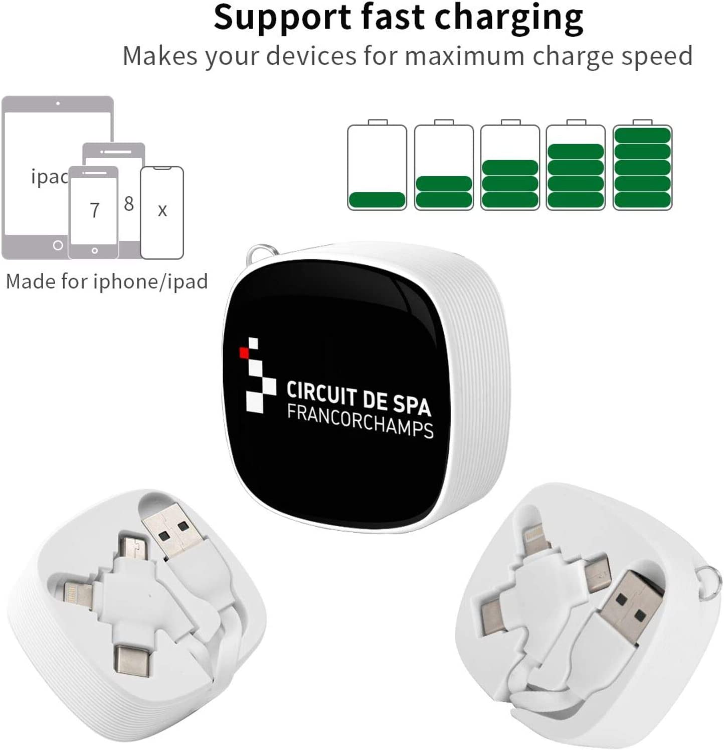 HJKHJK Circuit de Spa Francorchamps Multi USB Charging Cable Universal 3in1 Multi Charger Cable Adapter Type-C//Micro USB Port,Compatible with Cell Phones and More