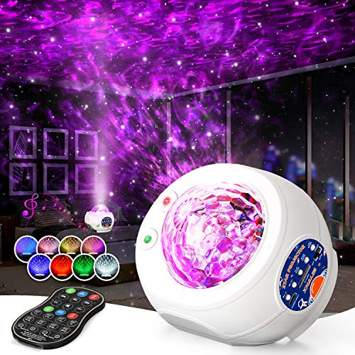 Xhaus Star Projector, Galaxy Night Light Projector with Bluetooth Music Speaker, 3-in-1 Ocean Wave Holiday Light Projector with LED Nebula Cloud for Kids Adults Bedroom (Christmas Gift)