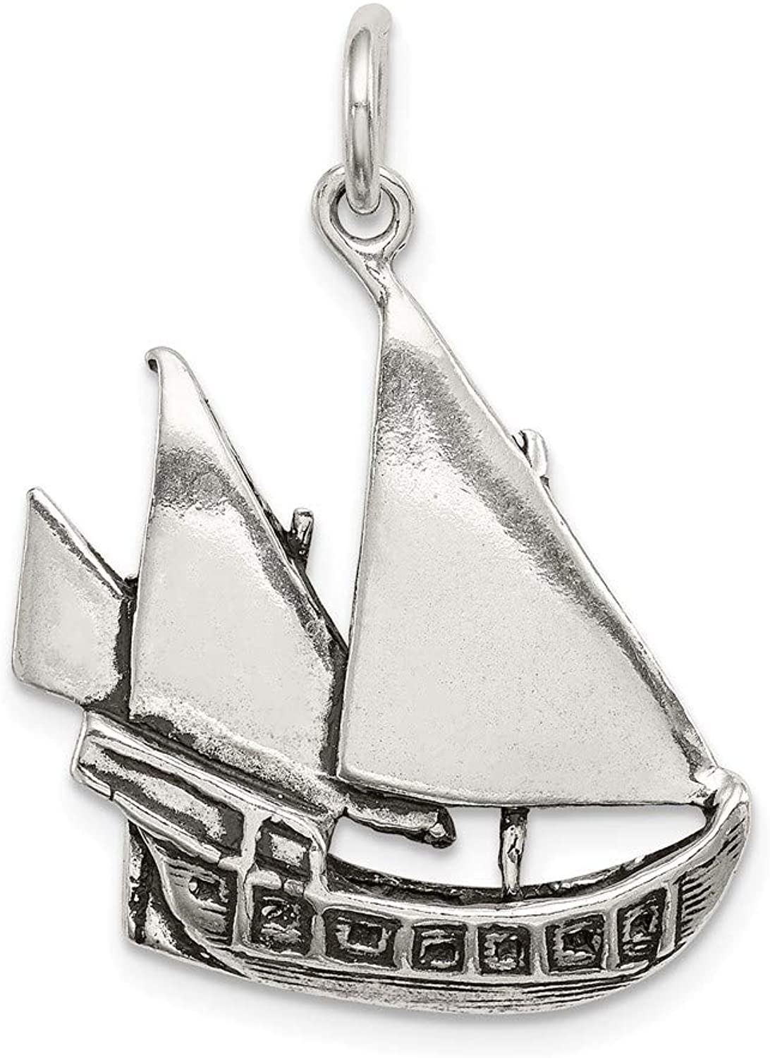 FB Jewels Solid Sterling Silver Antiqued Boat Charm