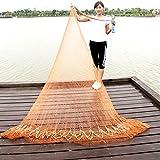 NACHEN Hand Throw Fishing Net Nylon Mesh Net with Hand String and Heavy Ring,Brown,4M