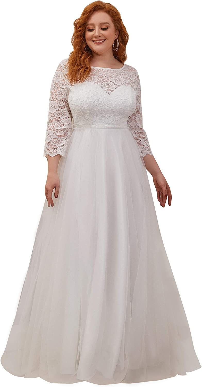 Ever-Pretty Womens Plus Size Long Sleeve Sweetheart Illusion Neckline Simple Wedding Dress 0229-PZ