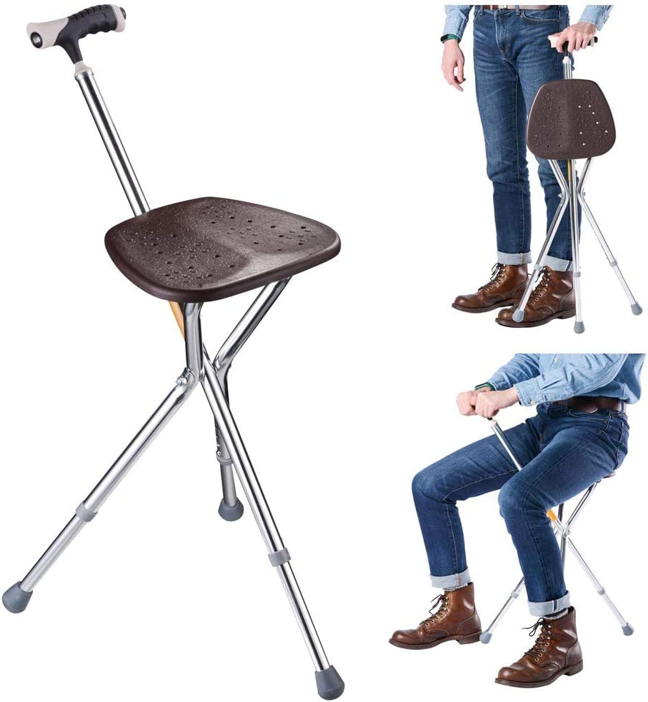 Import AW Portable Ranking TOP11 Folding Seat Cane Height Adjustable Stick Tr Walking