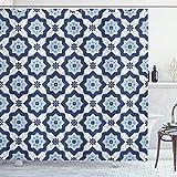 ABAKUHAUS Blau Duschvorhang, Portugiesisch Azulejo Mosaik, Waserdichter Stoff mit 12 Haken Set Dekorativer Farbfest Bakterie Resistet, 175 x 200 cm, Dunkelblau Blass Blau Weiß