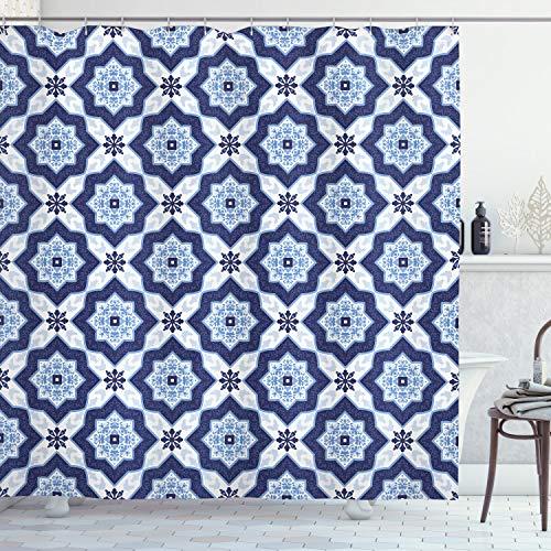 ABAKUHAUS Blau Duschvorhang, Portugiesisch Azulejo Mosaik, Waserdichter Stoff mit 12 Haken Set Dekorativer Farbfest Bakterie Resistet, 175 x 180 cm, Dunkelblau Blass Blau Weiß