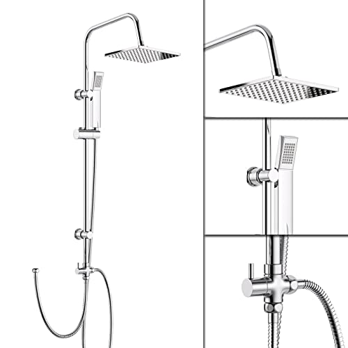 iBathUK | Modern Chrome Riser Rail Mixer Square Shower Head Kit for Bath Tap SP5106
