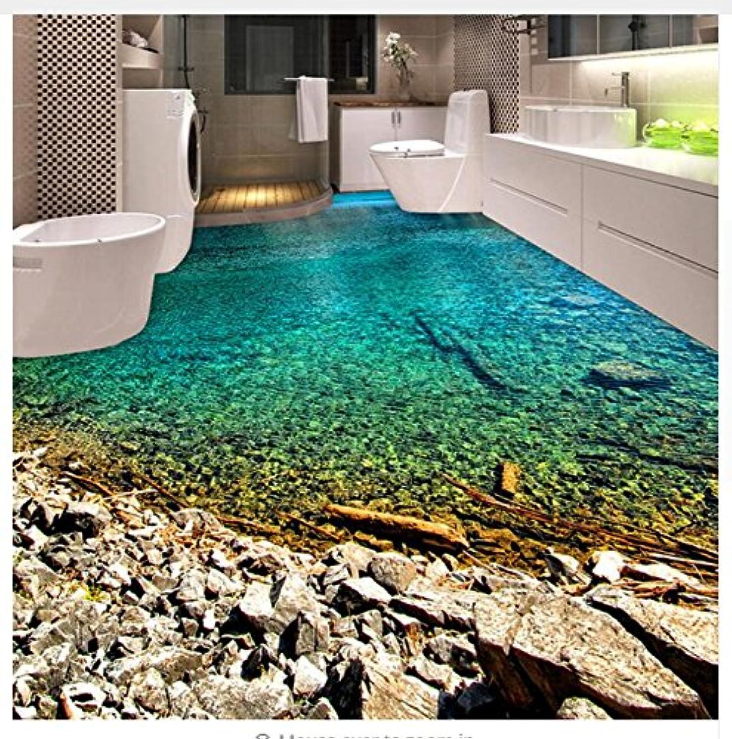 3D Wallpaper Floor PVC Mural Custom Clear River Water 3D Floor Mural Wallpaper Kitchen Bathroom Wear Non-Slip Waterproof Thickened PVC Stickers 300x210cm,Ayzr