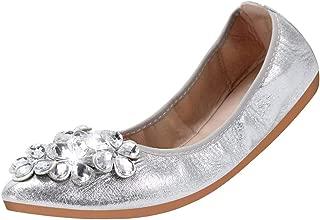 Foldable Ballet Flats for Women Rhinestone Slip On Flat Shoes