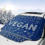 MOLLUDY Protector para Parabrisas Feliz patrón de Punto de Navidad Vegano Protector para Parabrisas con imán Cubierta de Parabrisas Coche Protege de Rayos Antihielo y Nieve