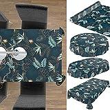 Wachstuchtischdecke abwaschbar Garten Tischdecke Wachstuch Rund Oval Eckig Indoor Outdoor Blätter Gold Blau 100x140cm - 3