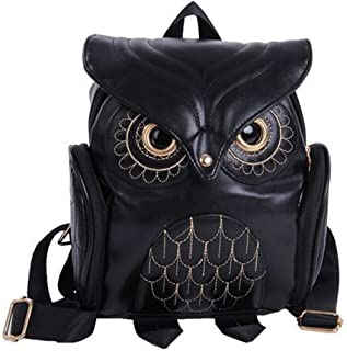 Womens Fashion Owl Backpack Girl's PU Leather Mini Daypacks(Black)
