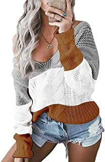 Ladies V-Neck Off-Shoulder Twist Color Pullover Sweater Women Casual Long Sleeve Patchwork Loose Knit Sweater Tops