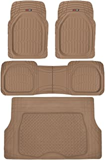Motor Trend 4pc Beige Car Floor Mats Set Rubber Tortoise Liners w/ Cargo for Auto SUV Trucks
